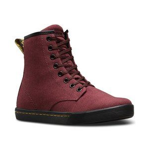 Red woven Dr martens
